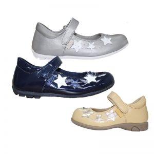 Pantofi fete din piele naturala cu stelute