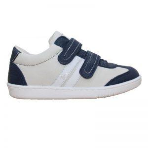 Pantofi casual pentru copii din piele naturala alb cu bleumarin 30-35