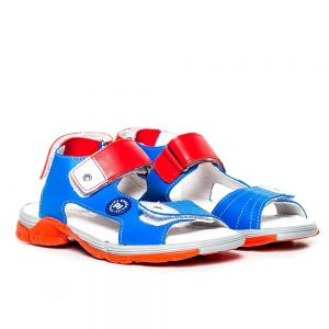 Sandale piele baieti Roy Blu/Rosu Pj Shoes