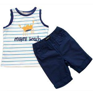 Compleu de vara baieti alb-bleumarin Miami Beach, 98 cm/ 3 ani