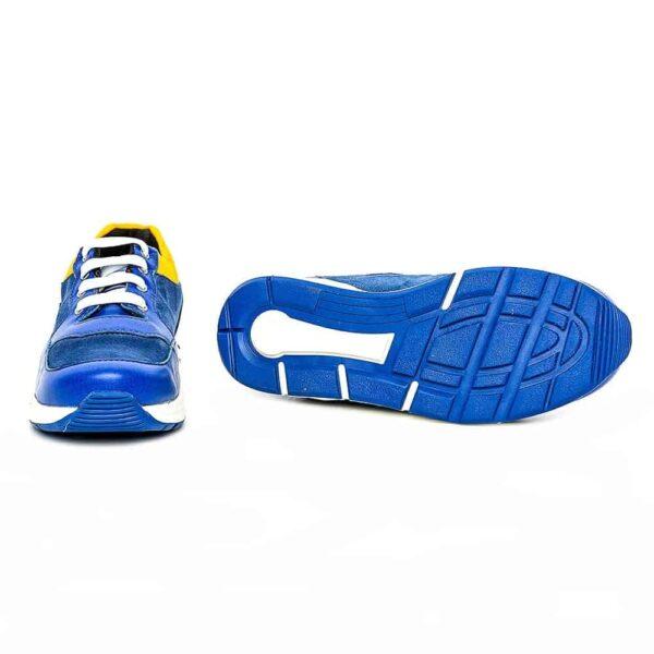 Tenisi din piele pentru copii Horia PJ Shoes Blu Galben