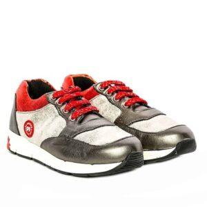 Tenisi pentru copii din piele Horia Gri Rosu Pj Shoes