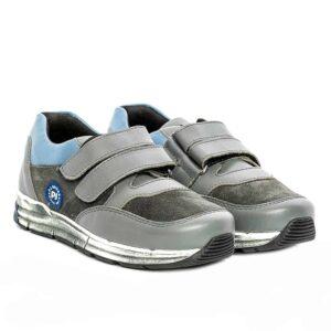 Tenisi din piele pentru copii Horia PJ Shoes Gri Blu 1201